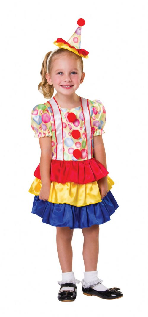 Childs Clown Cutie Toddler Costume Circus FunFair Parade Fancy Dress Outfit